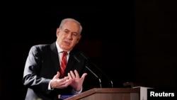以色列总理内塔尼亚胡2月18日在耶路撒冷的犹太人领袖会议上讲话