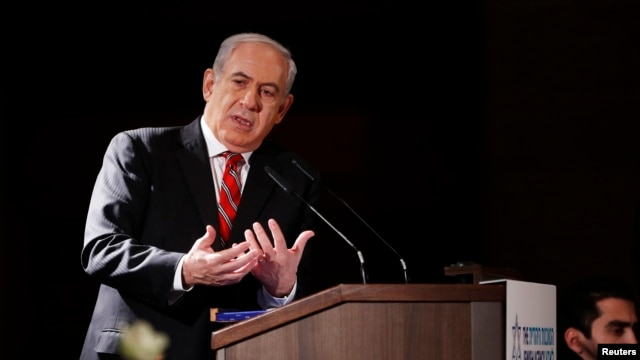 Israel's Prime Minister Benjamin Netanyahu addresses a meeting of Jewish leaders in Jerusalem February 18, 2013.