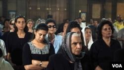 Mourners at Potrosia Church in Cairo