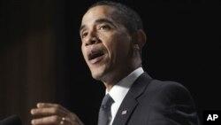 President Barack Obama speaks at the National Prayer Breakfast in Washington, Feb 3, 2011