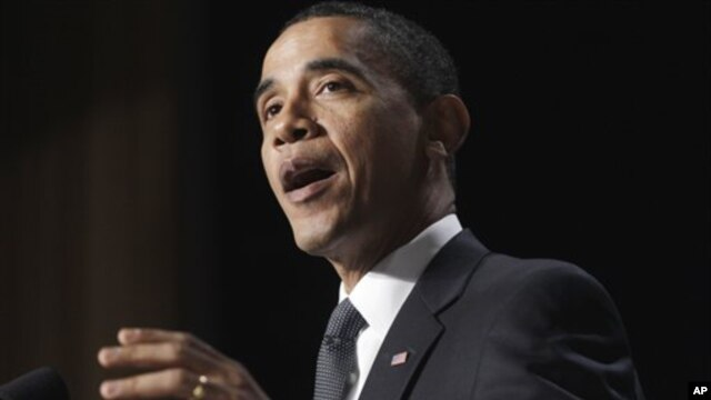President Barack Obama speaks at the National Prayer Breakfast in Washington, Feb 3, 2011