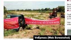 Nhà thầu ngừng thi công, giăng băng rôn đòi tiền cho dự án Cao tốc Trung Lương - Mỹ Thuận vào ngày 23/7/2019.