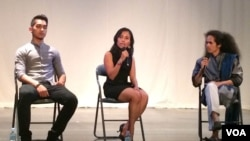 Artistic director of Amrita Chey Chankethay, left, Chy Lina, and Chy Ratana, far right, a dance choreographer, answer questions from the audience at the Department of Performing Arts on Saturday last week, Phnom Penh, Cambodia. (Phorn Bopha/VOA Khmer).