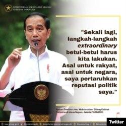Presiden Joko Widodo dalam Sidang Kabinet Paripurna (28/06) di Istana Negara, Jakarta menyampaikan arahan kepada pimpinan kementerian/lembaga untuk mempercepat penanganan Covid-19. (Foto: Twitter/@KemensetnegRI)