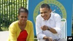 奧巴馬夫婦星期一在白宮參加復活節活動