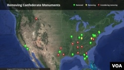 Map: Locations of Confederate monuments that have been removed, are being removed or where local officials are considering removal.