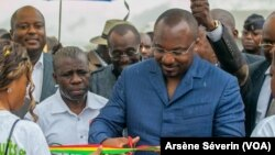 Denis Christel Sassou Nguesso, na Brazzaville, le 28 août 2018. (VOA/Arsène Séverin)