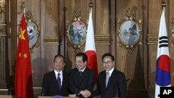 中國總理溫家寶(左)代表中方,與日本首相菅直人和南韓總統李明博舉行此次峰會。