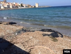The beach on the Greek island of Lesbos. (Jeff Swicord/VOA News)