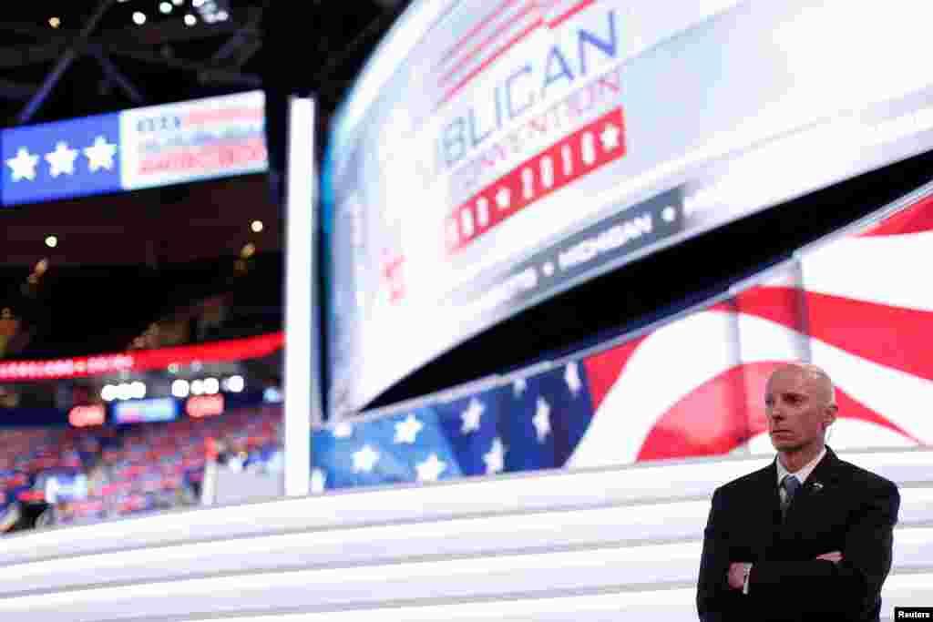 Un agent des services secrets américains lors des préparatifs de la Convention républicaine à Cleveland, Ohio, le 17 juillet 2016.