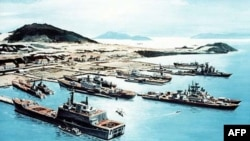 Ảnh vẽ minh họa căn cứ hải quân của Liên Xô tại vịnh Cam Ranh vào khoảng đầu thập niên 1980