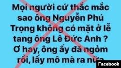 """Nội dung bình luận trên trang Facebook """"Út Hữu"""", được cho là của ông Lê Hữu Thuận."""