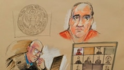 Sketch de Alex Saab en la sala de audiencias durante su lectura de cargos en un tribunal federal en Miami, el lunes 18 de octubre de 2021.