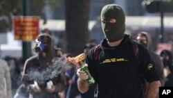 希臘緊縮財政政策引發示威。