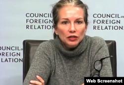 美国前助理国防部长玛丽·贝斯·朗在美国外交关系协会召开的朝核威胁讨论会上发言 (外交关系协会网站截图)