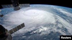 Hurricane Gonzalo is seen over the Atlantic Ocean in this NASA image taken by astronaut Alexander Gerst from the International Space Station, Oct. 17, 2014.