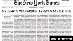 Trang nhất của New York Times hôm 24/5.