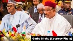 Shugaba Muhammad Buhari na Najeriya da Shugaba Issoufou Mahammadou na Jamhuriyar Nijar