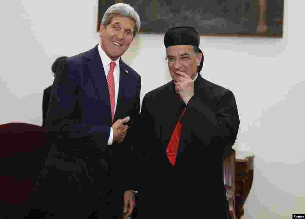 U.S. Secretary of State John Kerry meets with Maronite Patriarch Beshara al-Rai in Beirut, June 4, 2014.