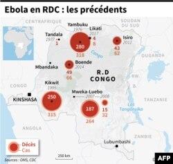 Carte de la République démocratique du Congo localisant les différentes localités touchées par le virus Ebola de 1976 à 2017.