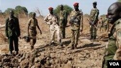 Anggota tentara pemberontak Sudan di Sudan selatan.