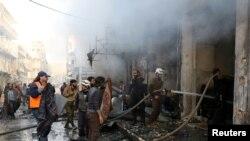 敘利亞城鎮埃里哈2017年2月也遭受空襲(路透社)