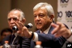 Mexico's President-elect Andres Manuel Lopez Obrador gives a press conference in Mexico City, July 9, 2018.