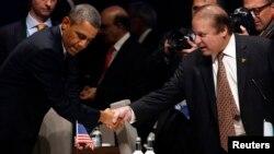美國奧巴馬總統與巴基斯坦總理謝里夫。(2014年3月24日資料照)