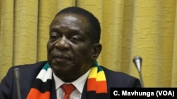 FILE: President Emmerson Mnangagwa was cautious about Zimbabwe discovering oil and gas deposits, Nov. 2, 2018, in Harare.