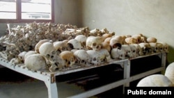 Skulls of victims of the Rwandan genocide at the Murambi Technical School, where many victims were killed. It is now a genocide museum.