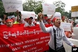 在马来西亚的缅甸人在吉隆坡抗议缅甸的密松水电站项目(2011年9月22日)