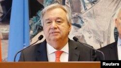 Antonio Guterres, Secrétaire général des Nations Unies, à Genève, Suisse, 3 avril 2018.