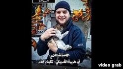 Fotografía de Abu Huraira al-Amriki difundida en un video por el grupo terrorista Jabhat al Nusra.