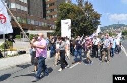 Protestna šetnja zbog najavljenih izmjena Zakona o radu, Sarajevo, 27. juli 2020.