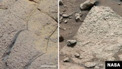 Photos de rochers sur Mars, prises par Opportunity et Spirit