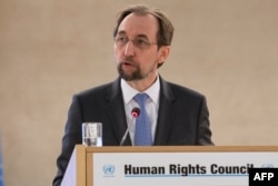 FILE - U.N. High Commissioner for Human Rights Zeid Ra'ad Al Hussein addresses the 37th session of the U.N. Human Rights Council, Feb. 26, 2018, in Geneva.