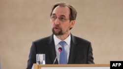 FILE - United Nations High Commissioner for Human Rights Zeid Ra'ad Al Hussein addresses the 37th session of the United Nations Human Rights Council, Feb. 26, 2018, in Geneva.
