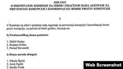 Prijedlog odluke o imenovanju članova komisije za nadzor Agencije za prvenciju i borbu protiv korupcije BiH