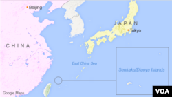 The East China Sea, including the Senkaku/Diaoyu Islands.