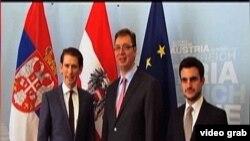 Ministar spoljnih poslova Austrije, Sebastijan Kurc sa premijerom Vučićem i ministrom finansija Srbije, Lazarom Krstićem