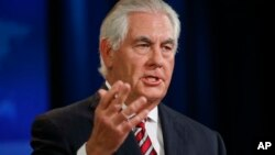 Secretary of State Rex Tillerson speaks at the State Department in Washington on U.S. policy in Afghanistan, Aug. 22, 2017.