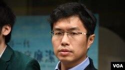 香港民主派立法會補選港島區候選人區諾軒 (攝影:美國之音湯惠芸)