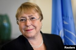 FILE - Former Chilean President Michelle Bachelet, who is now U.N. high commissioner for human rights, is pictured in Geneva, Switzerland, Sept. 3, 2018.