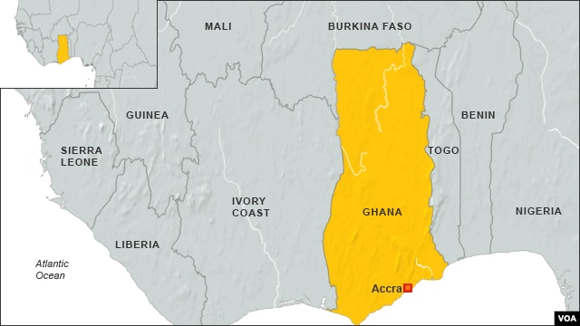 Map of Ghana, Africa