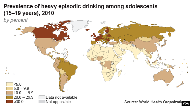 Map shows prevalence of heavy episodic drinking among adolescents
