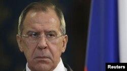 28일 모스크바에서 기자회견을 가진 러시아 세르게이 라프로브 외무장관.