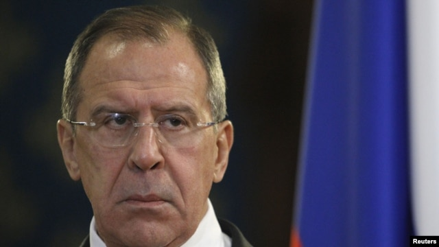 Russia's Foreign Minister Sergei Lavrov attends a news conference after a meeting with his Egyptian counterpart Mohamed Kamel Amr (not pictured) in Moscow, December 28, 2012.