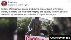 Salah satu akun dan posting yang ditutup dan dihapus oleh Facebook.