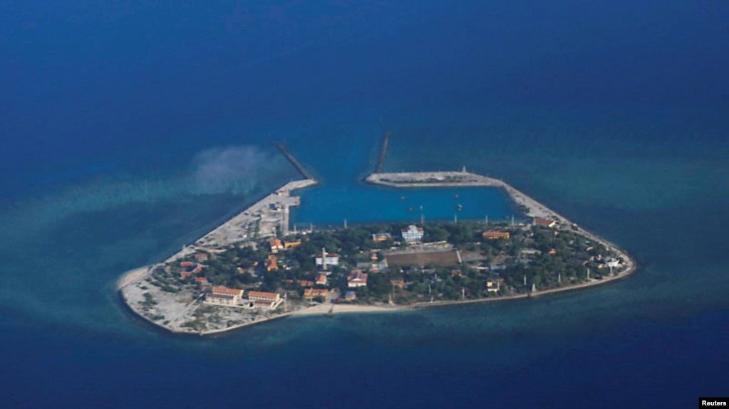 An aerial view of Southwest Cay, also known as Pugad Island, controlled by Vietnam and part of the Spratly Islands in the disputed South China Sea, April 21, 2017.