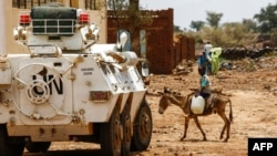 UN-African Union mission in Darfur (UNAMID) armoured vehicle in mountainous area of Jebel Marra in central Darfur. (File)